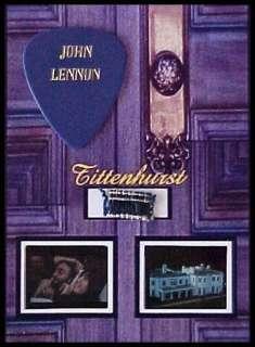 John Lennon Tittenhurst Used Bedspread Display + Guitar Pick