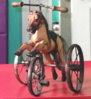 ANTIQUE PEDAL HORSE TRICYCLE WOODEN TOY REPRODUCTION