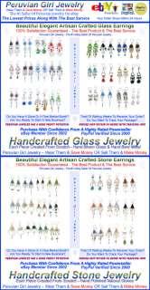 20 EARRINGS STONE GLASS PERU JEWELRY CHANDELIER DANGLE
