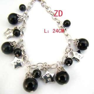 a0181 Ladys Black Imitation Pearl Beads Link Chain Bracelet Fashion