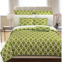 Green Scroll 3 piece Full/ Queen size Duvet Cover Set
