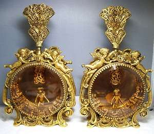 KT Gold Plated ORMOLU CHERUB CHERUBS Filigree Perfume Bottles