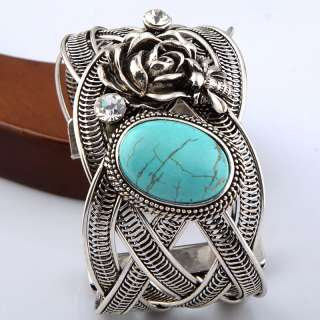 silver Twisted Rose Crystal Oval Howlite Turquoise Bead Cuff Bracelet