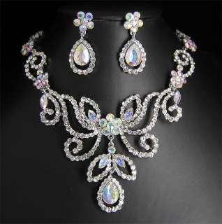 Wedding/Bridal crystal necklace earrings set S326