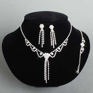 MOGAN Rose Necklace Earring Bracelet Set Bridal Party