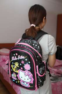 SANRIO HELLO KITTY BLACK SCHOOL BAG BACKPACK NYLON NEW