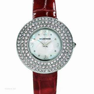 and Bros Crystal Red Leather Quartz Leather Case Womens Watch