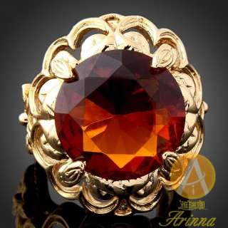 Arinna Swarovski Crystal brown Gold GP big stone Ring