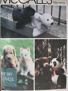 VTG 79 M6814 Stuffed Animals/Dog~Cat~Bear~Seal +More PATTERN New/UC