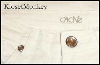 CACHE SEXY WHITE DENIM ROLLED SKINNY ANKLE JEANS CAPRI DESTRUCTED