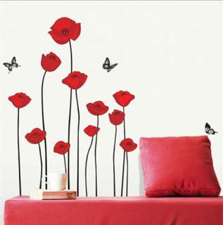 Red Poppy Flower Decor WALL STICKER Removable Decal