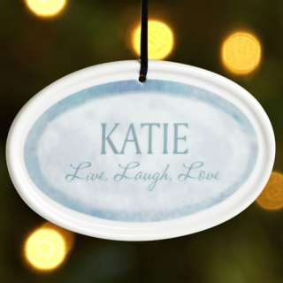 Live, Love, Laugh Christmas Ornament, Blue Personalized Gifts