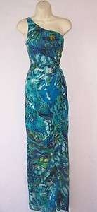 ADRIANNA PAPELL Green Blue One Shoulder Long Formal Evening Gown Dress