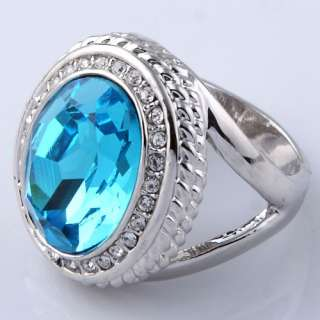 silver plated round faceted blue crystal towertop finger ring fashion