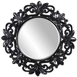 Round Framed Glossy Black Wall Mirror