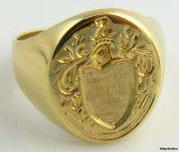 Hefty Signet Family Intaglio Crest Mens Ring   18k Yellow Gold Solid