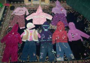 HUGE LOT GIRLS CLOTHES 12M 12 MONTHS TOPS JEANS PAJAMAS
