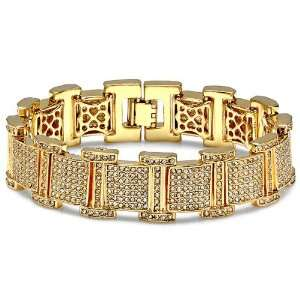 18k Yellow Gold Plated Micro Pave White CZ Cubic Zirconia