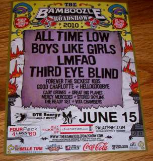 BAMBOOZLE 2010 All Time Low Boys Like Girls LMFAO Flyer