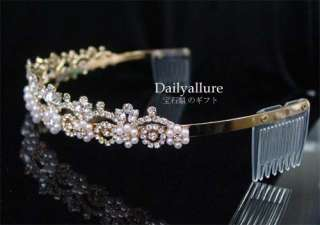 WEDDING BRIDAL CRYSTAL GOLD PLATED TIARA HEADBAND TR50A