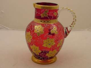BOHEMIAN GLASS PITCHER MOSER RUBY RED COLOR MAGNIFICENT GOLD ENAMEL