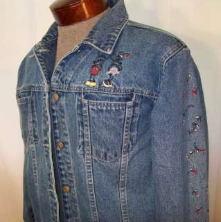 DISNEY Denim JACKET MICKEY & MINNIE embroidered Miss L