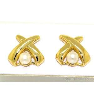 Genuine Pearl Earrings 14K Yellow Gold Hugs & Kisses Style Jewelry