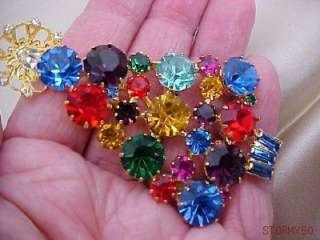 COLOR CRYSTAL LARGE CHRISTMAS TREE PIN BROOCH OUTSTANDING PIECE