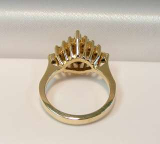 14K YELLOW GOLD .75cttw DIAMOND CLUSTER COCKTAIL RING *