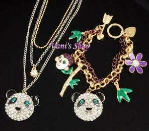 JOHNSON Jewelry Panda Necklace + bracelet set,come in gift box