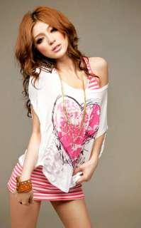2pcs Top Casual Womens heart shaped love T shirt stripe Blouse