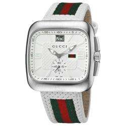 Gucci Mens Coupe White Leather Strap Watch