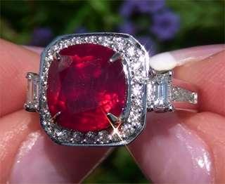Natural Red Ruby & Diamond Vintage Ring 18k White Gold