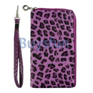 Leopard Zipper Purple Case Bag Wallet Pouch for Apple iPhone 4 4G 4S