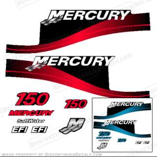Mercury 150hp Outboard Decal Kit Blue or Red Available