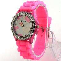 Pink New Fancy Silicone Girl Lady Teenager Jelly Quartz Wrist Watch