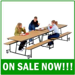 MBU12P Mobile Bench Cafeteria Table   Powder Coat Legs (30 W x 12 1