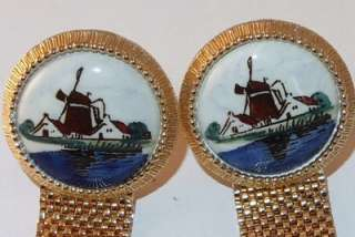 HAND PAINTED ORIG BOX ARTS OF THE WORLD MESH WRAP CUFF LINKS