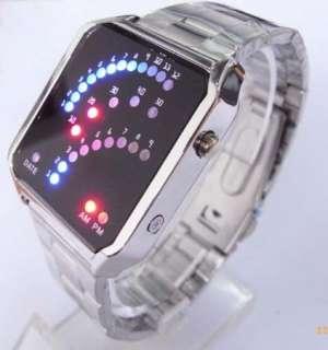 29 BLUE&RED LED Light Quartz Stainless Steel Watch Man