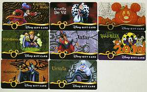 All 8 Disney Halloween Gift Cards 2008 2010 6 Villains w/ ERROR