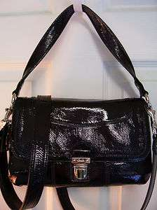 NWT COACH POPPY POP C BLACK PATENT LEATHER LAYLA GROOVY CROSSBODY HOBO