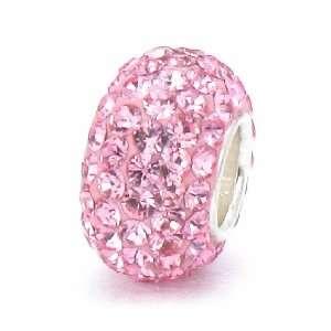 Fascini Pink Swarovski Crystal Element Pave Sterling Silver Bead Charm
