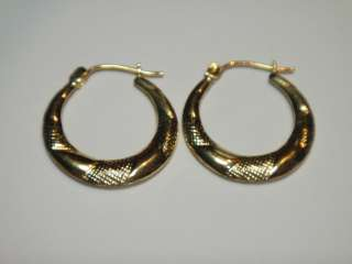 ESTATE 14K YELLOW GOLD HOOP PATTERNED EARRINGS ESTATE JEWELRY N/R
