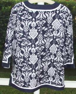 CAROLE LITTLE BLUE& WHITE FLORAL TUNIC TOP 1X 2X 3X NEW