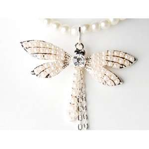 Pastel Pink Dragonfly Insect Bridal Big Pendant Necklace Jewelry