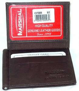 Mens BROWN Leather MONEY CLIP Thin Wallet 93 036982100933