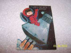 1960s Birthday Card With Space Capsule Outer Space