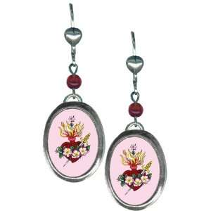 Silver Plated Small Oval Earrings Sacred Heart Artwork by Sunny Buick