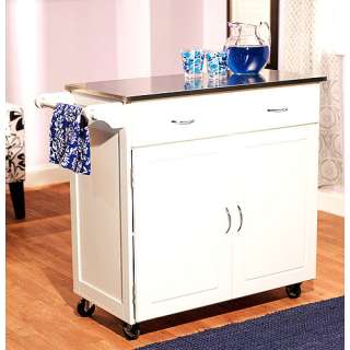 Large Kitchen Cart, White with Stainless Steel Top