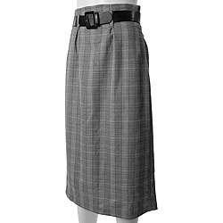 Adi Designs Juniors Black/ White High waist Belted Skirt